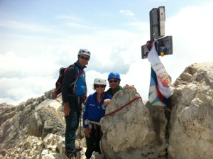 Kirsten and Francesco Arcadio with their guide at the top of the Corno Grande Gran Sasso